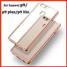 luxury cover case for huawei p9 p9 lite p9 plus original back battery clear transparent Gold armor soft tpu mobile phone cases