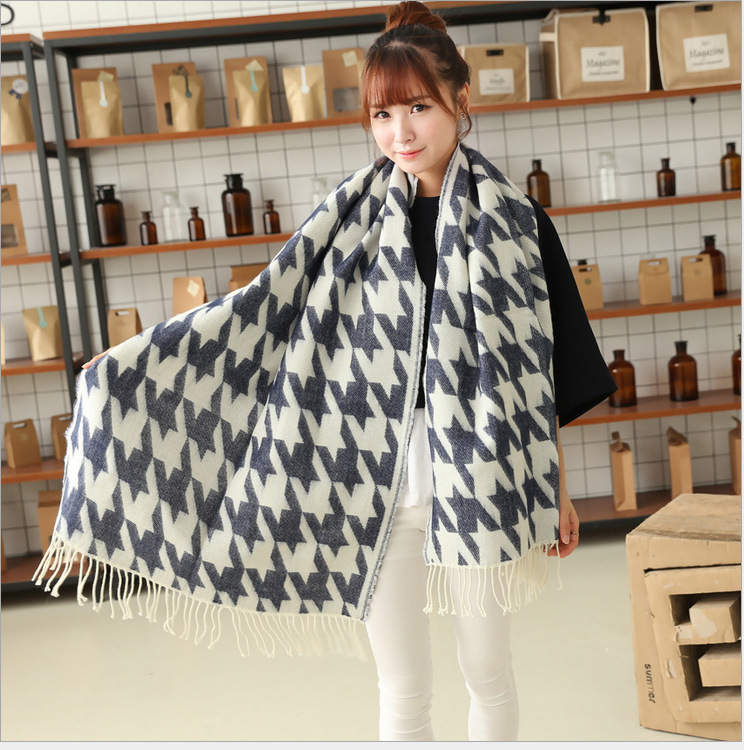 2016 New Scarves Women Casual Winter Cashmere Fringed Shawl Houndstooth Poncho Soft Plaid Cape Scarf for Women Fashion Knitwear(China (Mainland))