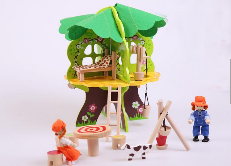 Free shipping, children's wooden toys, educational toys, DIY scene play game, the disassembly and assembly, Tree doll house