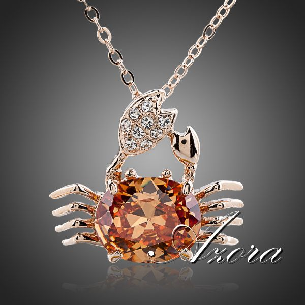 AZORA Lucky Crab 18K Rose Gold Plated Big Citrine Crystal Fashion Costume Jewelry Pendant Necklace TN0081(China (Mainland))