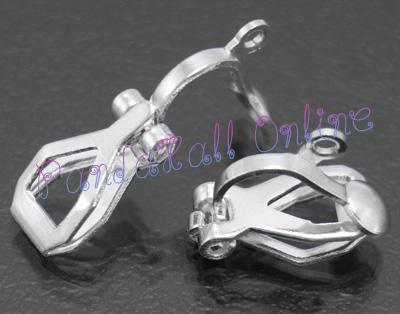 Brass Clip-on Earring Components, for non-pierced ears, Silver Color, about 6mm wide, 13mm long; 10mm thick; hole: 1mm<br><br>Aliexpress