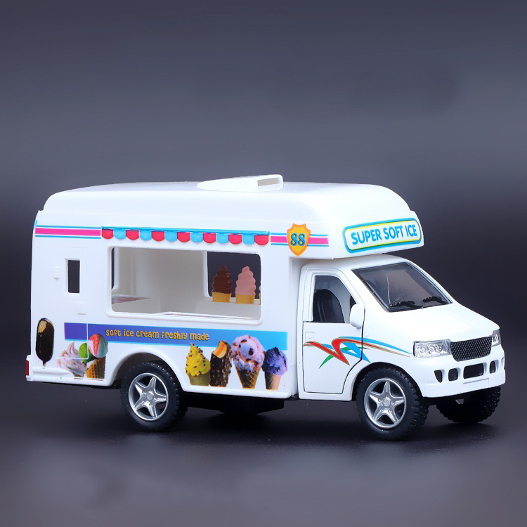 1:36 Alloy Truck Model Excellent Gifts High Simulation Exquisite Baby Toys Original Ice Cream Truck Catering Truck Model(China (Mainland))