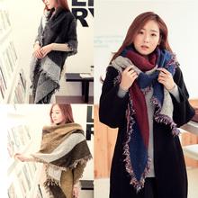 Newly Design Bufandas Women's Large Tartan Scarf Shawl Stole Plaid Woollen Cloth Tassels Scarf Winter Foulard W1
