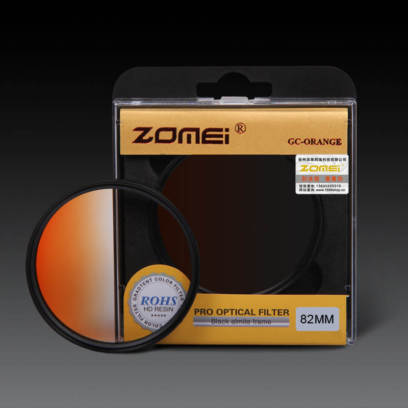 Original Zomei 82mm Pro Optical GND Filter Orange Graduated Neutral Density GC Filter for Canon Nikon DSLR 82 mm Camera lens(China (Mainland))