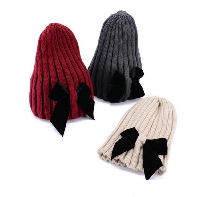 С бантом hat женский симпатичные вязаная шапка баотоу украсить шляпы для женщин вязаные ...