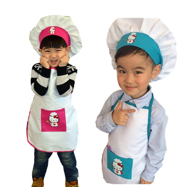 Free Shipping Brand New Kids Costume Cook Apron Costume children Painting Apron Chef Hat and Apron set cartoon(China (Mainland))