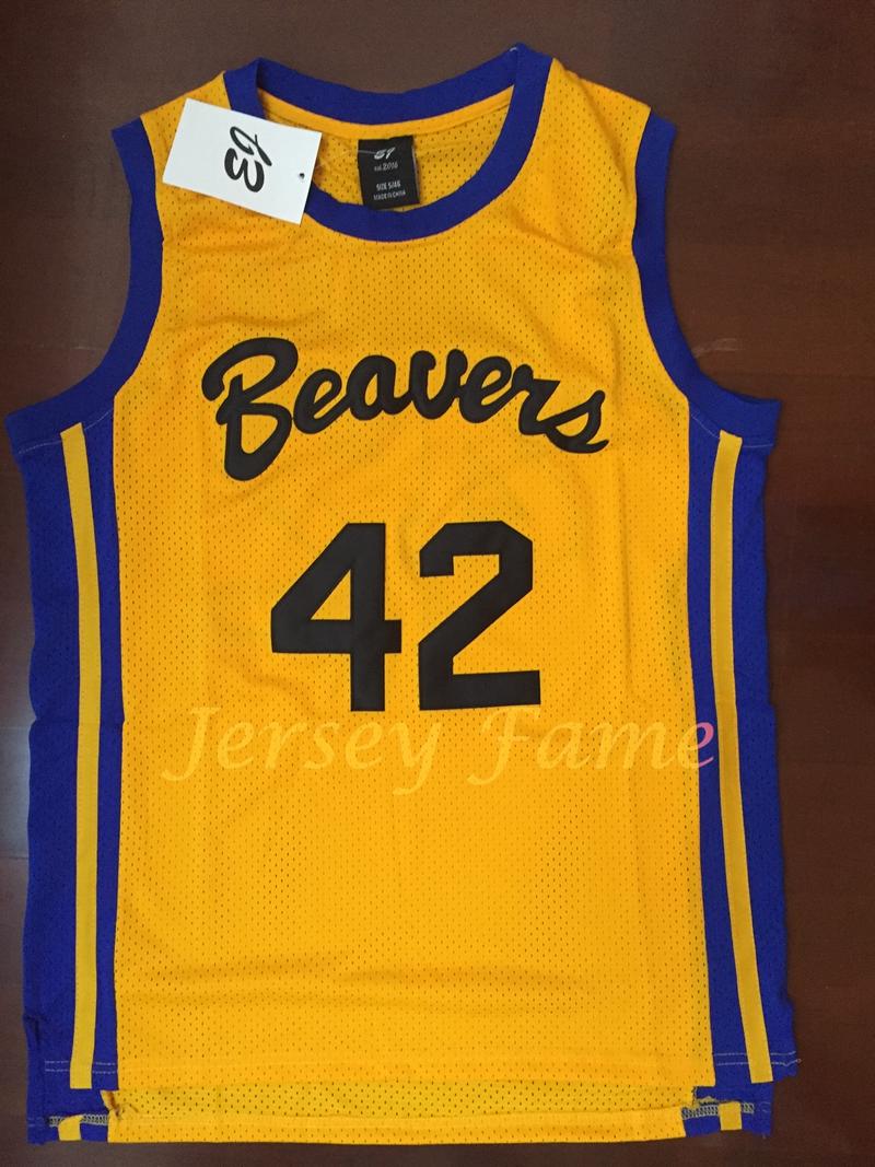 Zhimoom Scott Howard #42 Beavers Teen Wolf Movie Basketball Stitched Jersey - Yellow(China (Mainland))