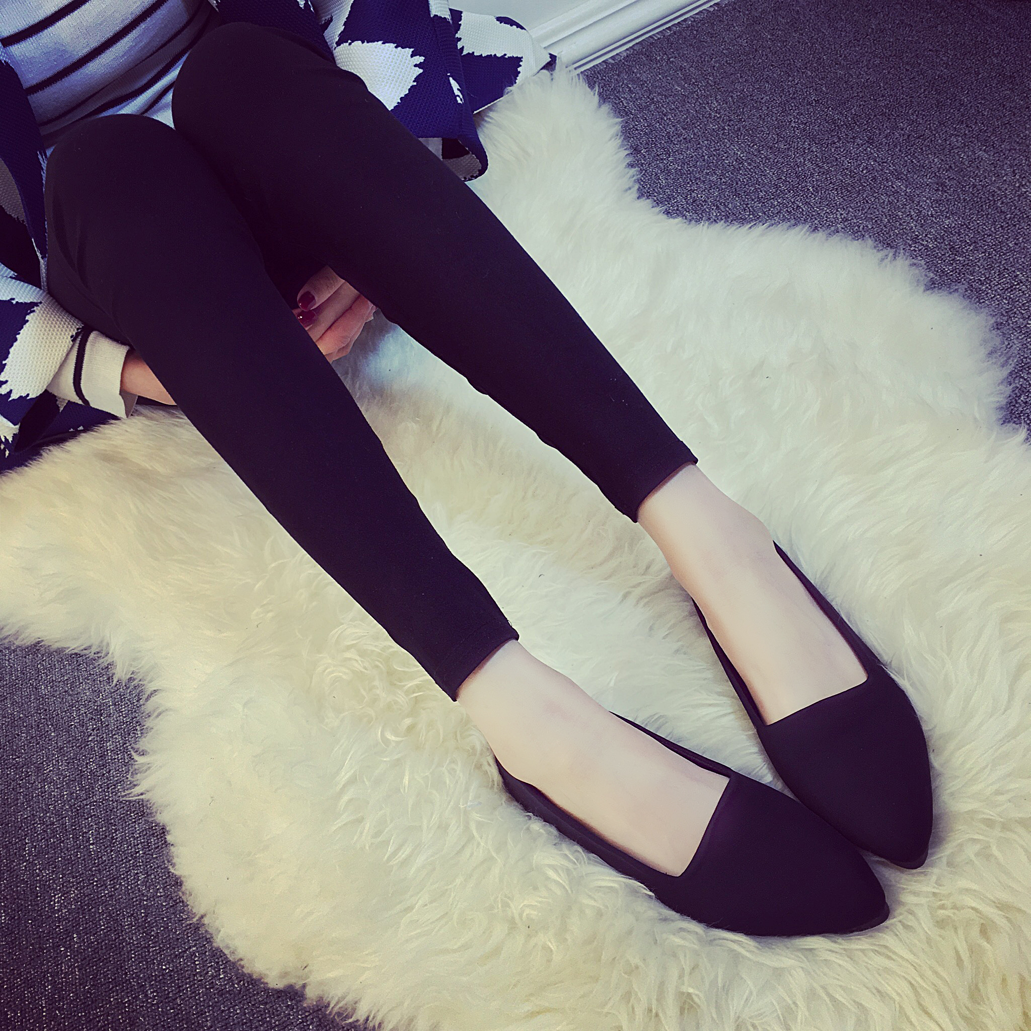 Flat Shoes Women Elegant Office Pointed toe Flats Fashion Ladies Black Red Yellow Green Blue Apricot Casual Spring Autumn Shoes<br><br>Aliexpress