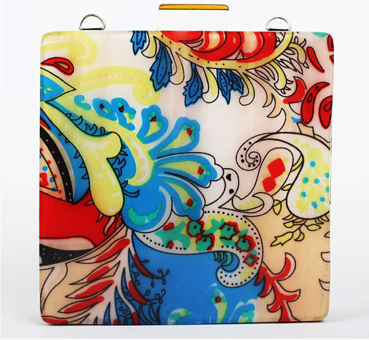 New Italy Design Evening Bag India Flower/Blue Bird/Colorful Blue Acrylic Square Shape Women Blingbling Clutch Vintage Bags 86x(China (Mainland))