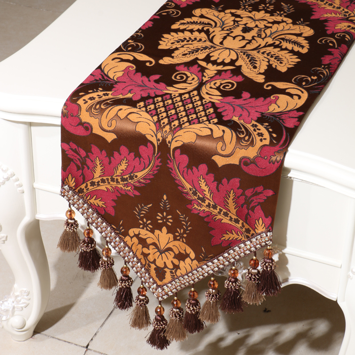 European Multi Tassel Table Runner High End Cover Cloth Embossed Jacquard Home Decortion Coffee Table TableCloth Bed Runners(China (Mainland))