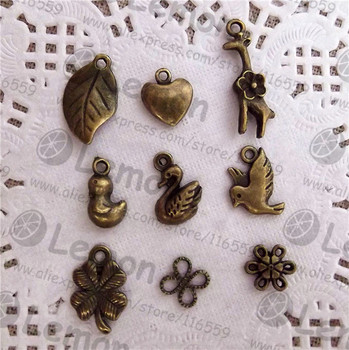 Free ship! 100pcss/lot animal plant antique bronze charm pendant jewelry connector jewelry accesorry findings