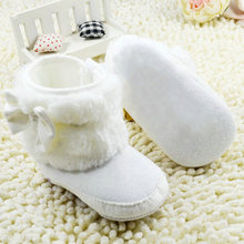 Newborn Baby Girl Bowknot Fleece Snow Boots Booties White Princess Shoes(China (Mainland))