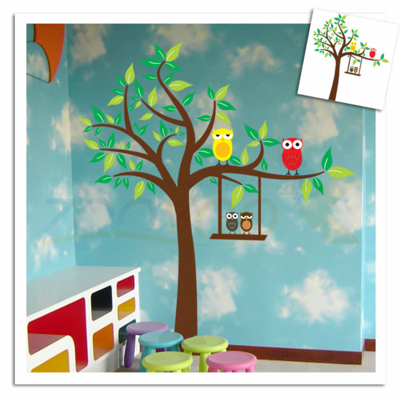 Comwall Decals For Kids Room : owls-on-colorful-tree-for-kids-room-wall-decal-zooyoo9069-decorative ...