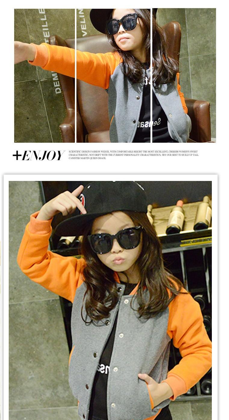 Скидки на Зима новая девушка утолщение бархат цвет бейсбол униформа, южной Кореи бейсбол равномерное красный серый пальто детская одежда