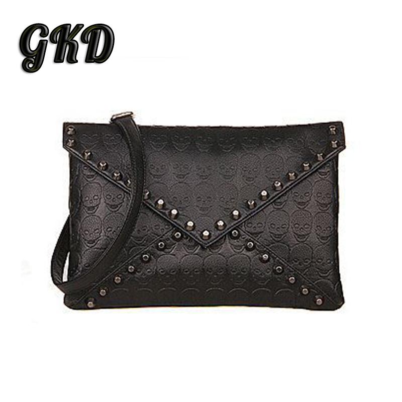 New 2015 Fashion Korean Designer Rivet Handbags Envelope One Shoulder Women Bags Punk Skull Clutch Messenger Bags A7264(China (Mainland))