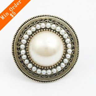 2015 New Fashion Hot-Selling New Style Romantic Flower Ring, Retro Simple Adjustable Sunflower Pearl Ring R286(China (Mainland))