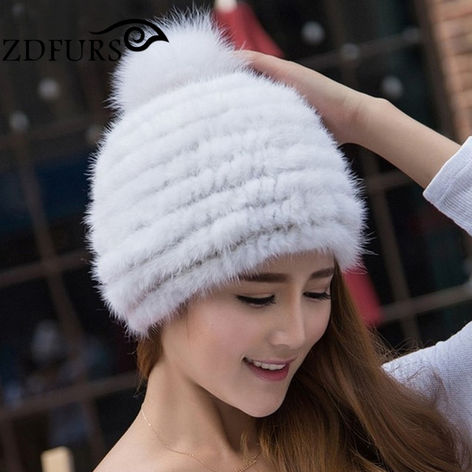 ZDFURS * real mink fur hat women winter knitted beanies cap fox pom poms brand new thick female ZDH-161004 - factory store