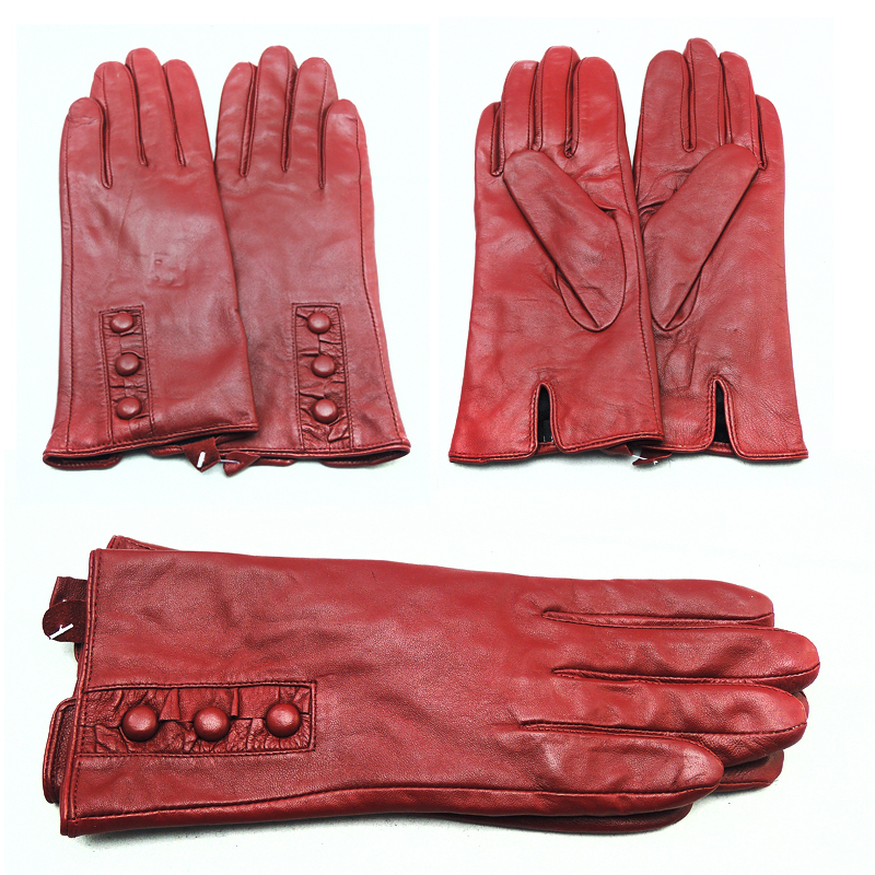 2016 High Quality Brand Real Leather Lady Winter Gloves Wool Trendy Style Warm Fashion Women Genuine Leather Glove(China (Mainland))