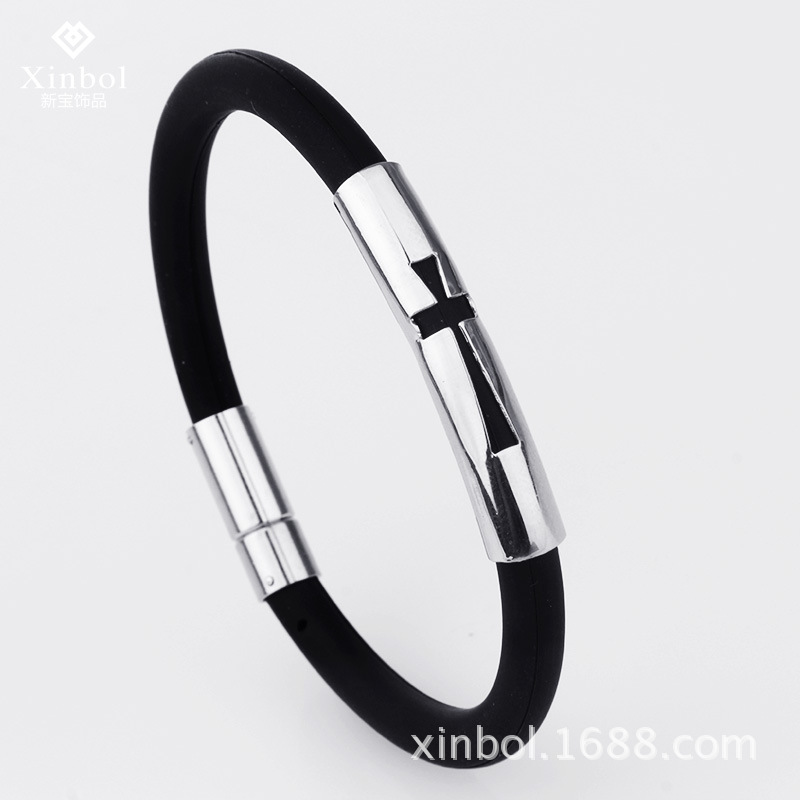 Manufacturers Selling Korean Fashion Wholesale Energy Black Rubber Bracelet Wristband Titanium Cross Gender Bahamut Personalized(China (Mainland))
