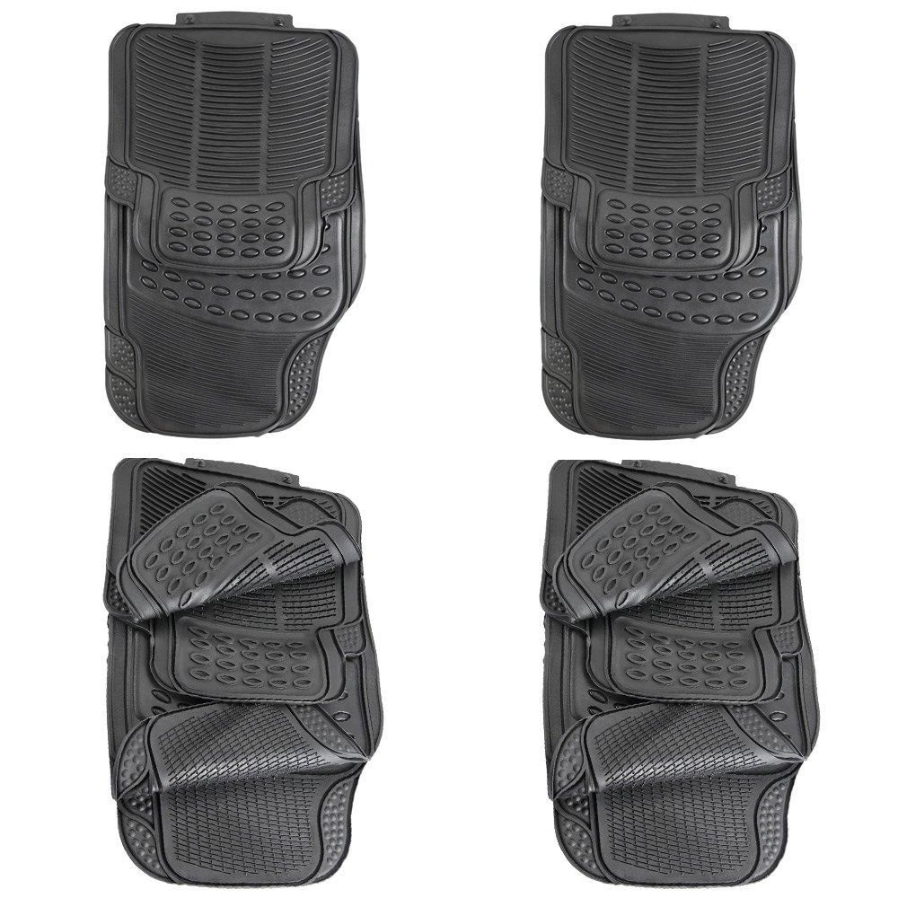 Rubber floor mats price - 4 Piece Auto Vehicle Floor Mat Universal Car Fit Front Rear Full Set Ridged Anti