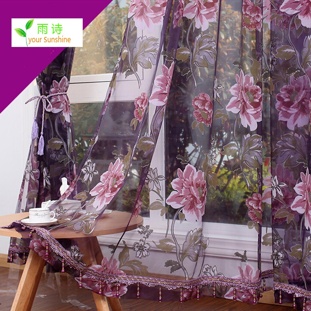 Home Textile Flower Chinese luxury 3D Window Curtains fabric Tulle Sheer Curtains for bedroom living room kitchen CRT48(China (Mainland))
