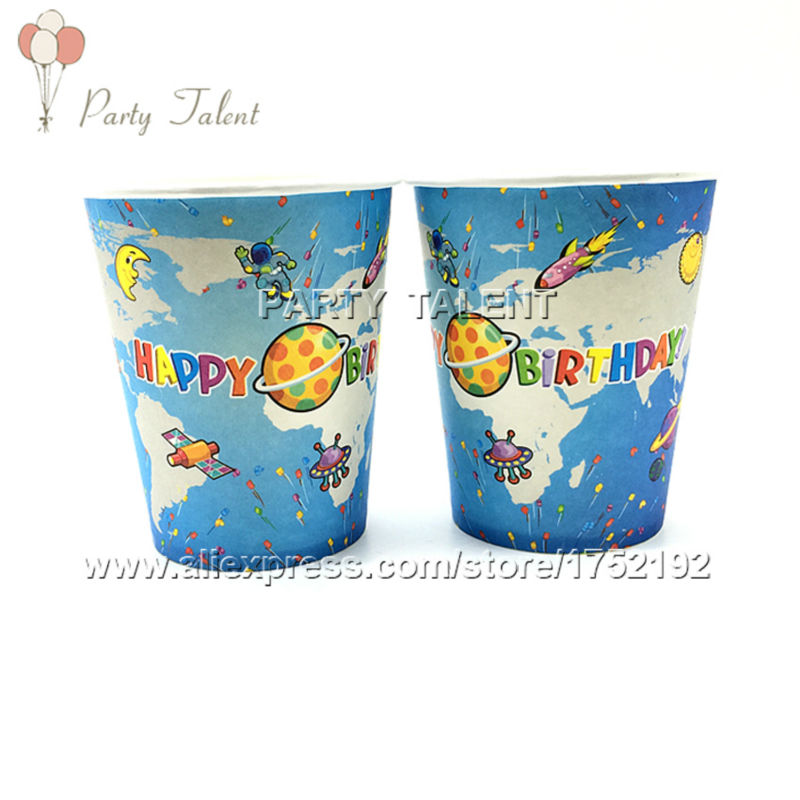 Party supplies 20PCS space and science theme party decoration disposable tableware paper cup cups with food film(China (Mainland))
