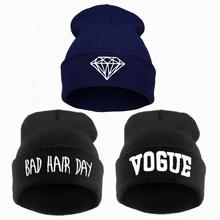 Winter Diamond hat VOGUE beanie women bad hair day knit ski skullies,2015 crochet female bonnet casquette,gorros de lana mujer(China (Mainland))