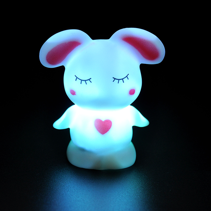 Romantic 7 Color Changing LED Night Light Room Decoration Candle Lamp Nightlight Love rabbi~GM369(China (Mainland))