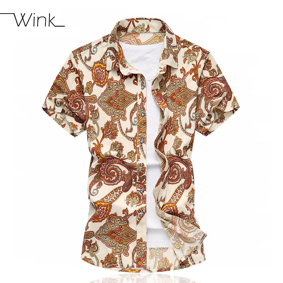 Printing New Summer Short Sleeve Mens Shirt Luxury Casual Dress Slim Fit Big Size m-6xl Brand Beach Comfortable Blouse Men S085(China (Mainland))