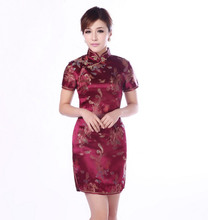 Burgundy Traditional Chinese Classic Dress Women's Satin Cheongsam New Summer Mini Qipao Size M L XL XXL Mujere Vestido Jy4061(China (Mainland))