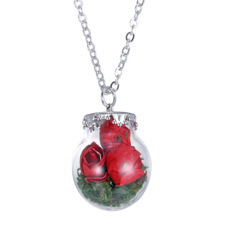 2016 Hot Sell Handmade Real Dry Dried Flower Glass Bottle Vial Necklace Jewelry Lockets Pendant Choker Necklace Jewelry(China (Mainland))