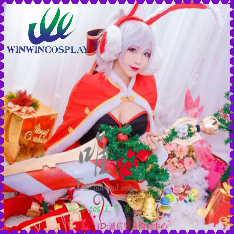 Game LOL Riven Red Rabbit Dress For Adult Women Comiket Party Christmas Halloween Cosplay Costume Custom Made Any Size(China (Mainland))