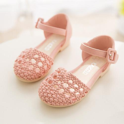 2015 summer new fashion Kids shoes Children Girls shoes sandals woven Baby princess shoes Roman sandals hollow shoes
