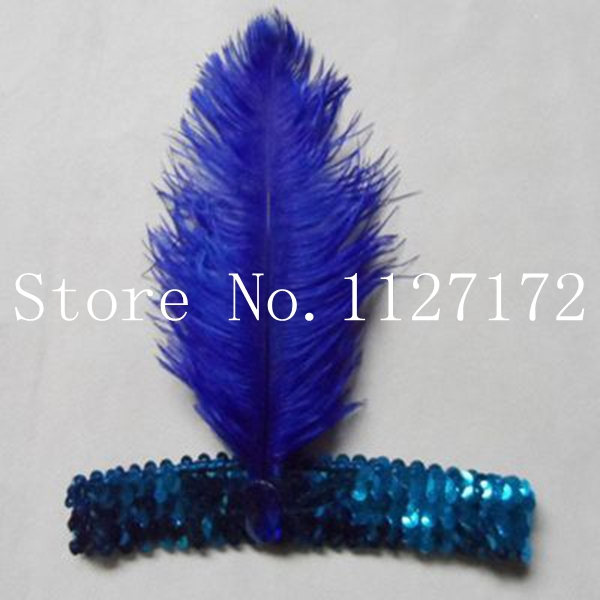 Fashion Paillette Sequin 5pcs Royal Blue Ostrich Feather Head piece Headwear Hair Band Headband(China (Mainland))