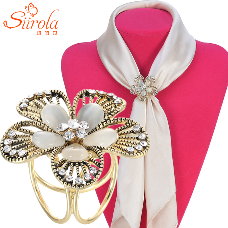 Classic retro Hollow out Flower Czech diamond Opals Old Silver gold plated Women Brooch Shawl Scarves jewelry Scarf buckle clips(China (Mainland))