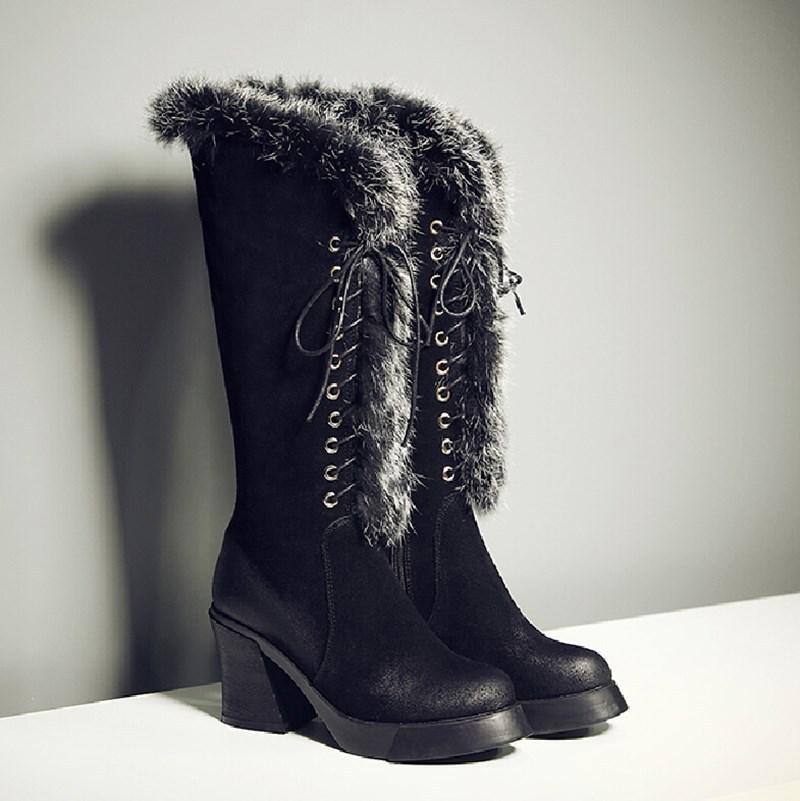 Warm real Rabbit fur design high heel platform women knee high boots full Genuine Leather lace up winter boots women size:33-40