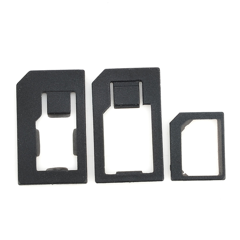 High Quality 3 in 1 Nano Sim Card Adapters+Micro Sim +Stander Sim Card SIM Card & Tools For Iphone 4 4S 5 Black JL*DA1174*50