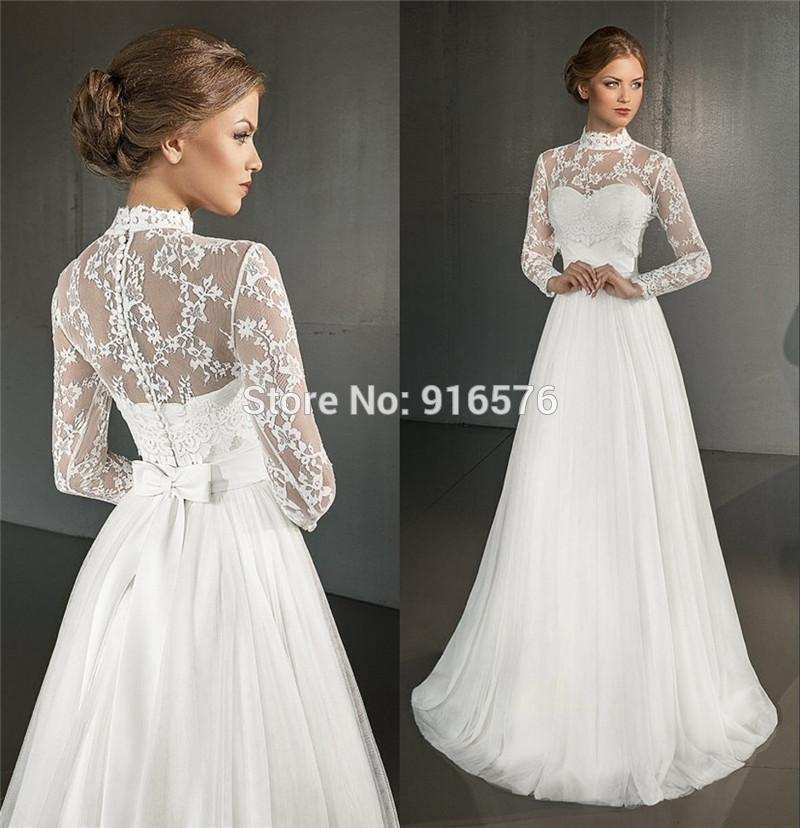 Greek wedding dresses 2016 a line high neck long sleeves for Grecian wedding dress with sleeves