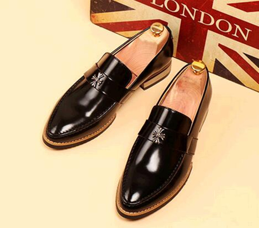The new spring and summer fashion leather shoes brand mens fashion brand Bullock pointed Niupike Luo heart shoes men style<br><br>Aliexpress