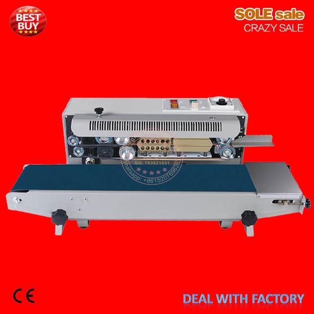 Continous plastic bag sealing machine, automatic sealer, aluminum foil package sealing machine, food bag sealer, DF900, 110/220V