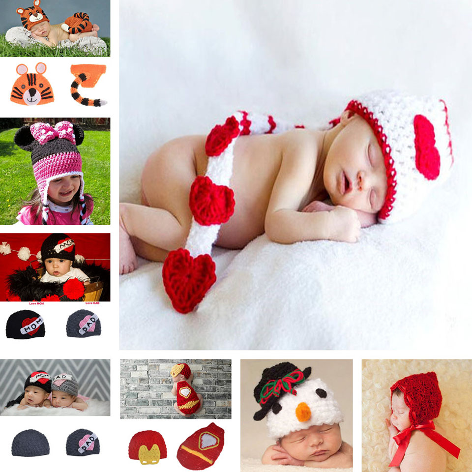 Newborn Baby Photo Props Handmade Crochet Knit Hat Lovely Toddlers Cap Nursling Photography Props 1pc MZS-15052(China (Mainland))