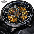 2016 Famous Brand Winner Luxury Fashion Vintage Steel Stainless Black Dial Men Mechanical Skeleton Watch For