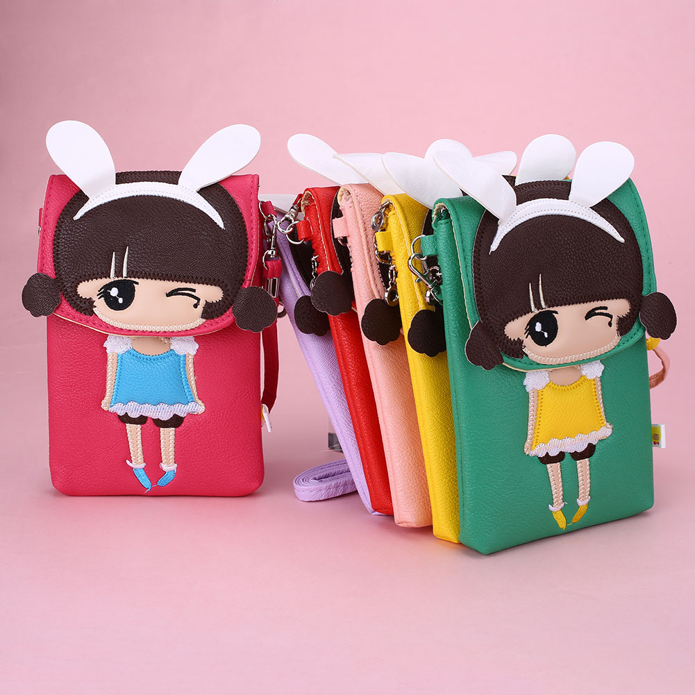Women Fashion Cartoon Girl Rabbit-Ear Crossbody Shoulder Handbag Cellphone Mobilephone Bag Bolsa Feminina Bolsos With Strap(China (Mainland))