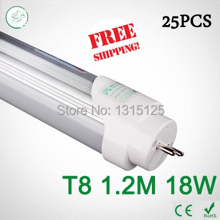 25PCS 4ft LED Tube T8 1200mm 18W AC 85V-265V smd2835 Equal to Conventional Lamp 40W 4000K LED Fluorescent light via FedEx(China (Mainland))