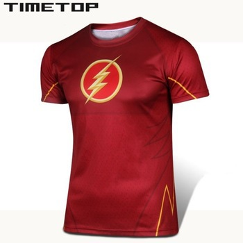Personalized Compression Tight Shirts Marvel the avengers he Flash costume adult Run Barry Allen t shirt men 2015 boys short(China (Mainland))