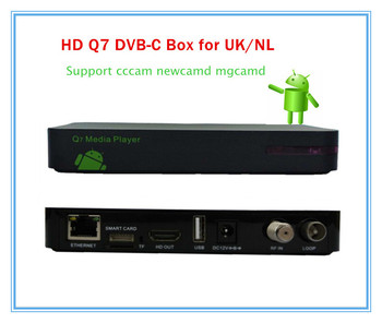 5 pcs/lot  DVB C Android cccam receiver hd Q7 cable box CCCam Newcamd network sharing with 1GRAM+8GROM