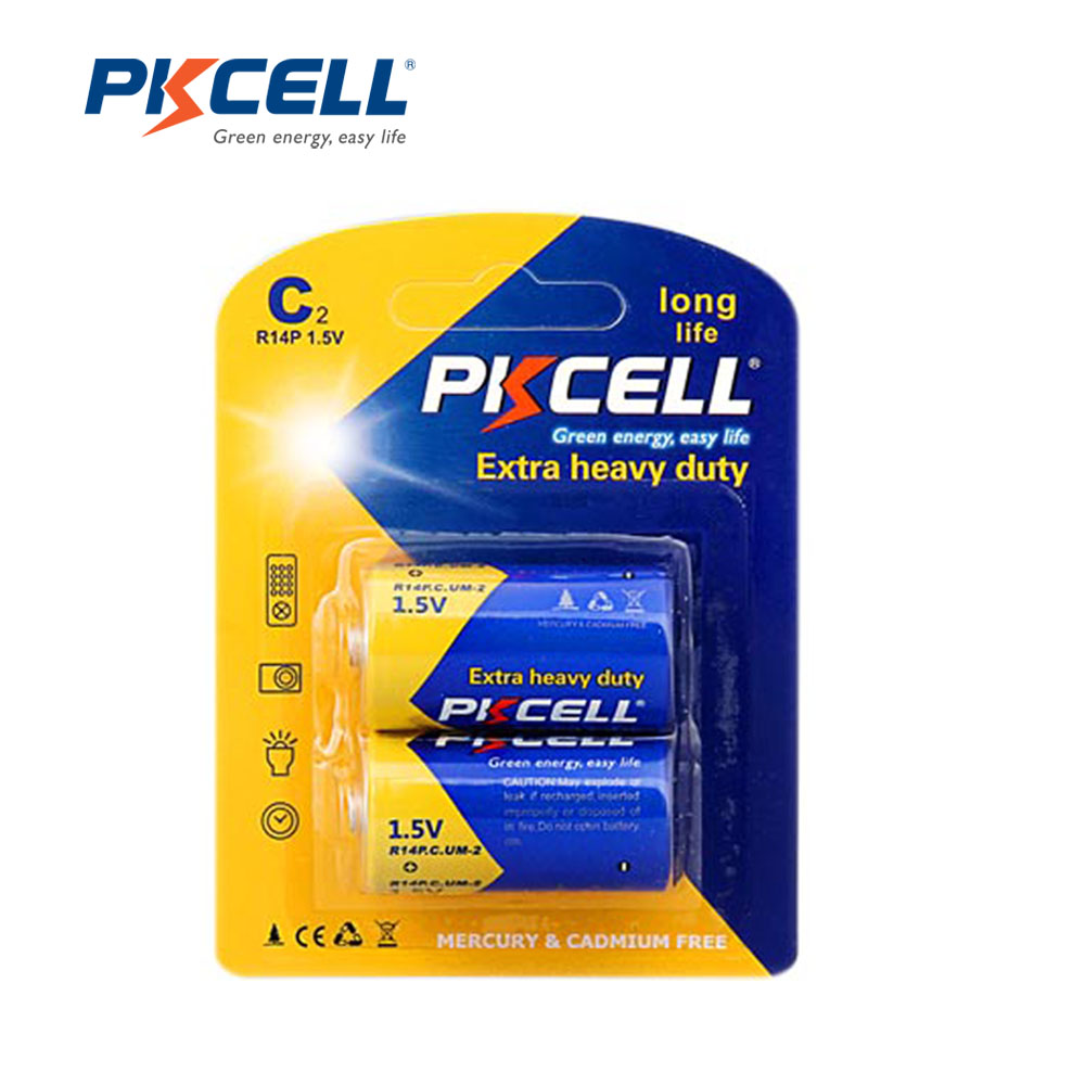 2PCS/Card PKCELL Size C MN1400 R14P Super Heavy Duty UM2 Batteries 1.5 Volts Dry Cell Carbon Zinc Battery in Card(China (Mainland))