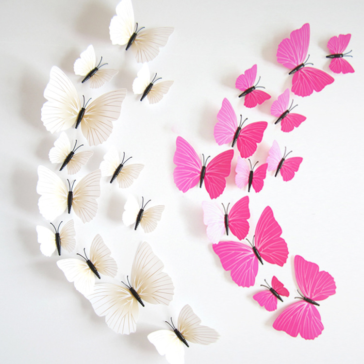 Hot Sale 3D Butterfly Wall Decals12pcs 6big+6small PVC 3D Butterfly Wall Sticker for Home Decoration(China (Mainland))