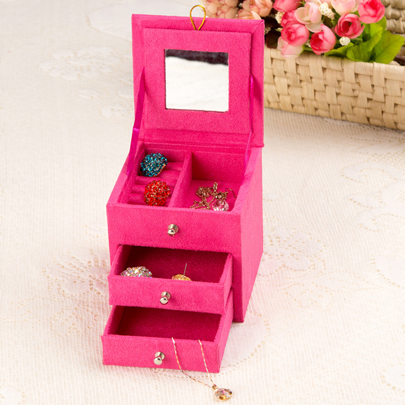 Fashionable practical jewelry box with 3 layers storage earring bracelet case with mirror birthday gift for girl freeshipping(China (Mainland))