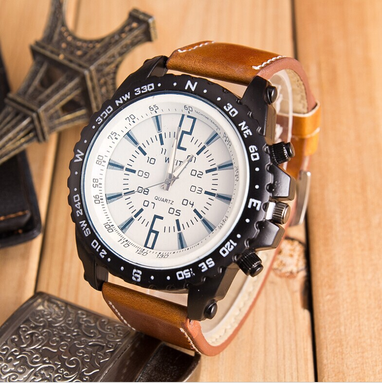 New Arrival Men Sports Casual Watch Military Mechanical Quartz Watches Students Leather Band Wristwatch Clock Relogio